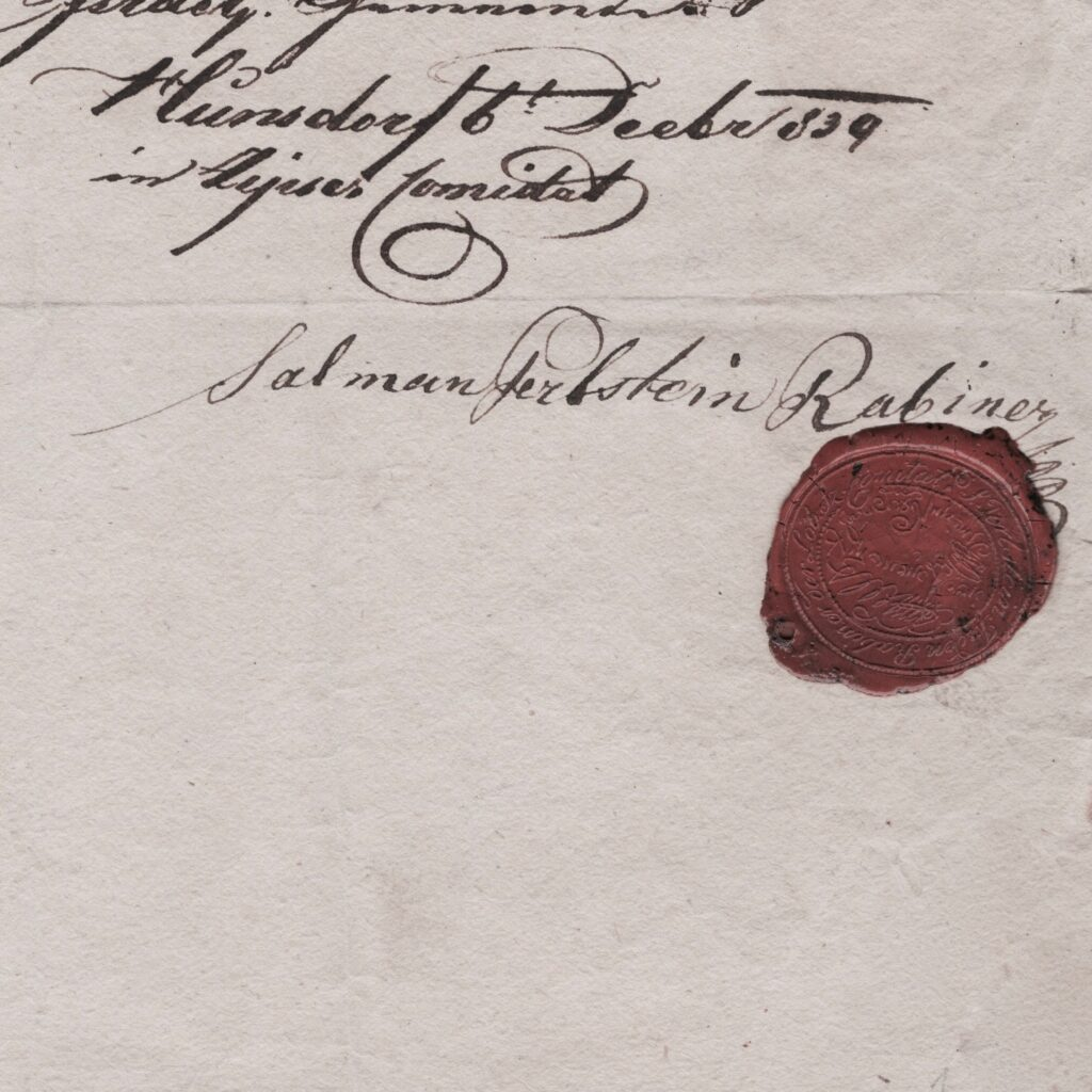 Old Habsburg Rabbinical document with red wax seal