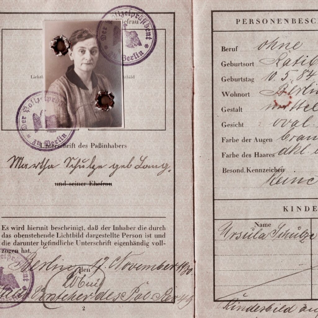 Sample image of historical passport (Martha Schulze)
